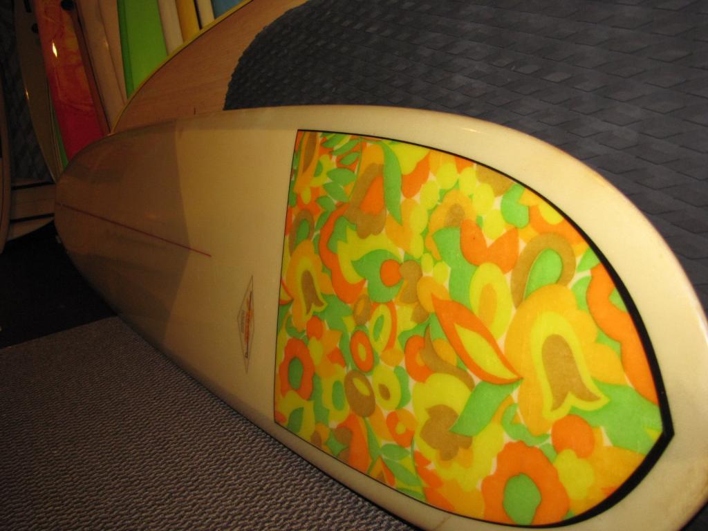 Hobie 1967 floral nose removable fin vintage longboard surfboard
