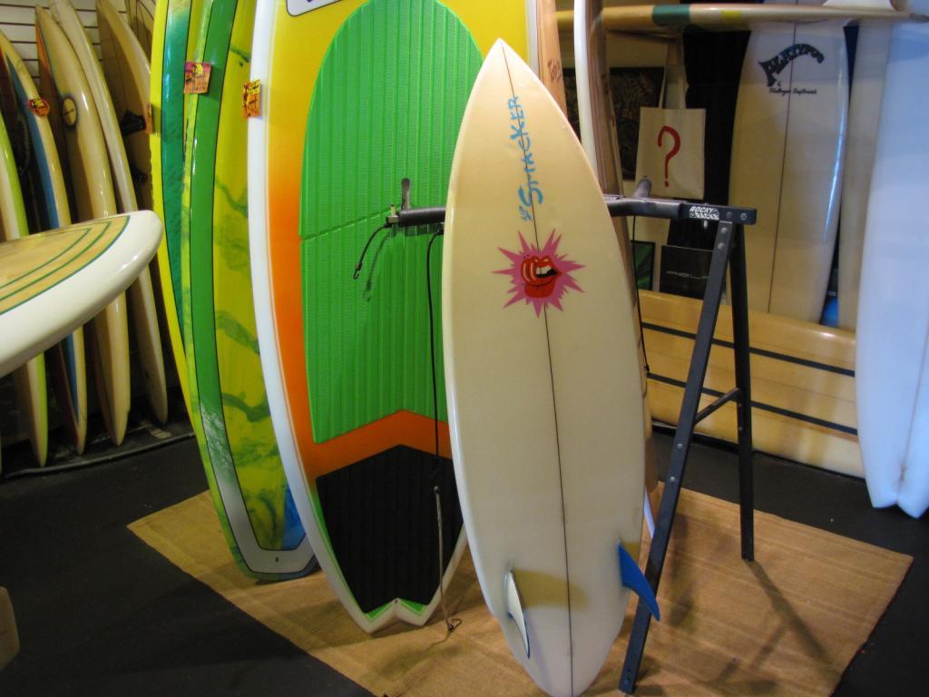 """5'-7""""lip smacker 1984 twin fin vintage surfboard"""