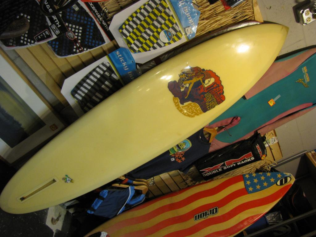 "7'-3"" chuck dent 1969  ""experience""  transitional single fin surfboard longboard"