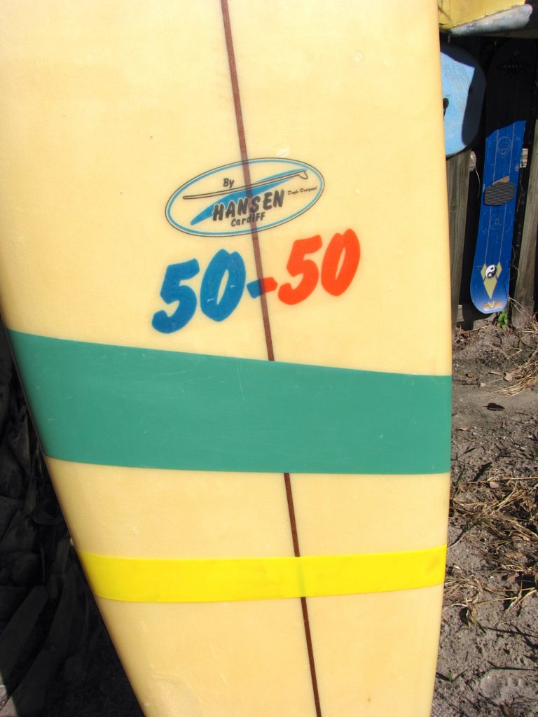 Vintage classic hansen 50-50 longboard surfboard team surf board used surfboard stuart fl surfshop surf shop stuart fl single fin