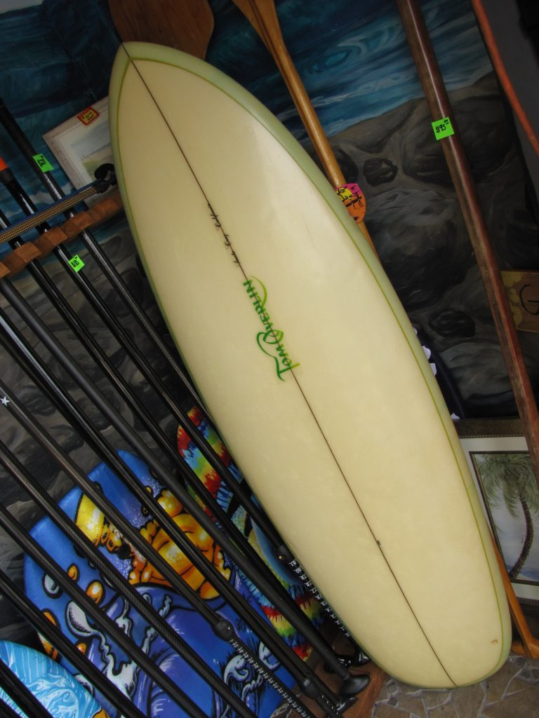 Tom Overlin Vintage twin fin surfboard