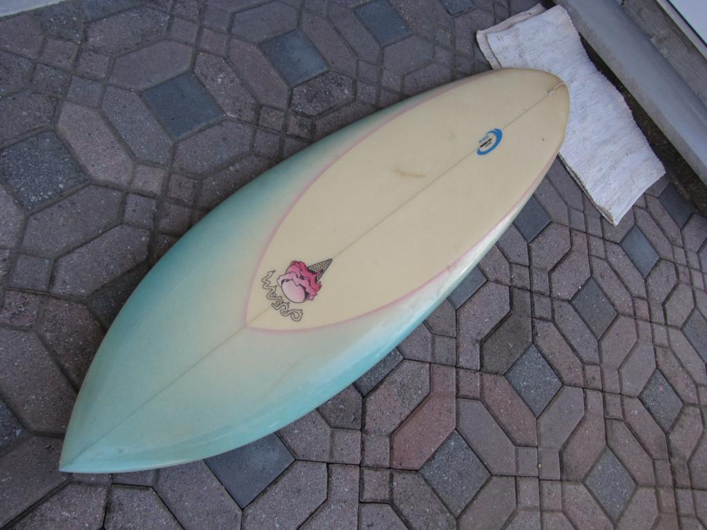 Vintage Cream Surfboard Tony Giordano ocean hut surfboards surf board