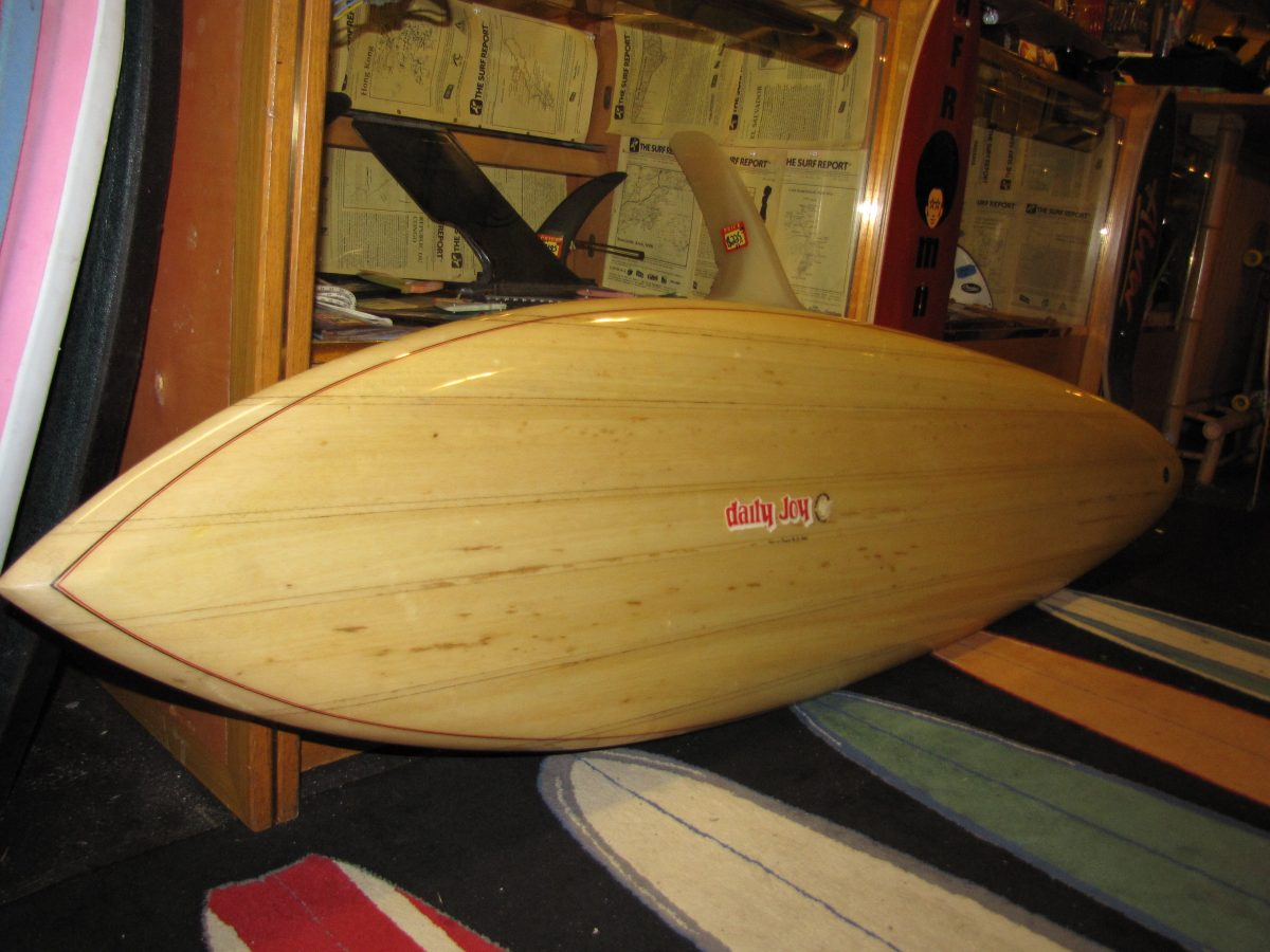 Jim phillips daily joy vintage antique balsawood balsa surfboard joe simo tideline design monster bowl skatepark surfshop stuart fl 34996