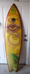 clyde beatty jr vintage surfboard ocean crystal twinfin twin fin rocket fish tiger fish 1970's surfboards surfshop surf shop museum stuart fl florida 34996