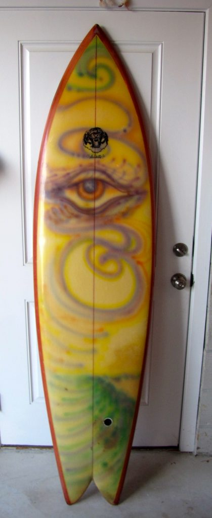 clyde beatty jr vintage surfboard ocean crystal twinfin twin fin rocket fish tiger fish 1970's surfboards surfshop surf shop museum stuart fl florida 34996
