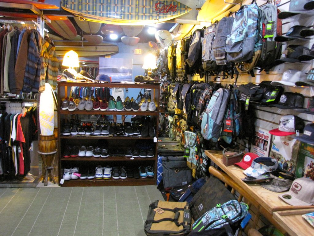Beach hats, shoes, backpacks and surf accessories